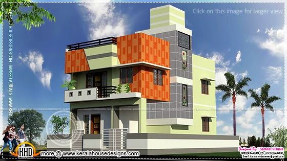 Tamilnadu style flat roof home