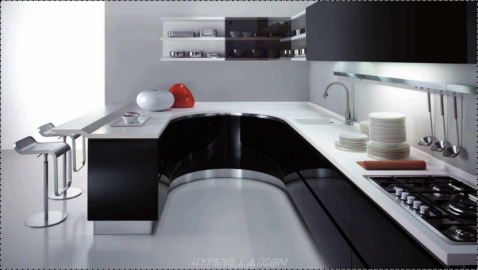 The best kitchen design in the world for Black and white modern kitchen designs