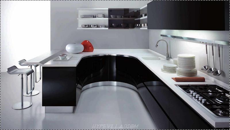 Modern Black and White Kitchen Design title=