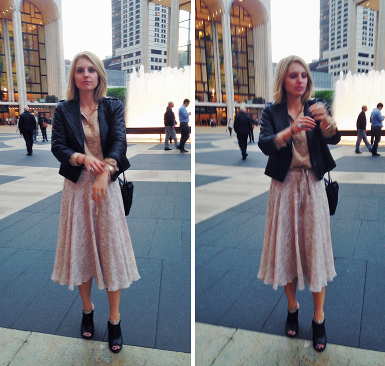 OOTD at the New York City Ballet, Ann Taylor flowy skirt, Whistled peep toe booties, ASOS quilted leather jacket, Saint Laurent Arty Ring, camel silk tunic top