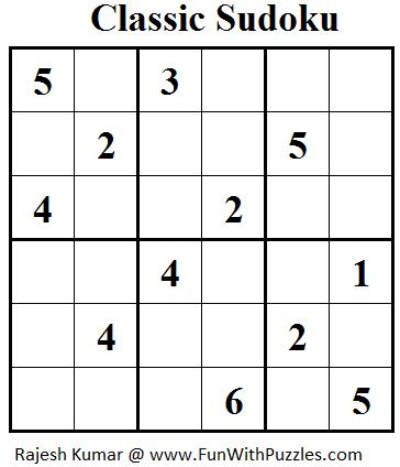 Classic Sudoku (Mini Sudoku Series #31)