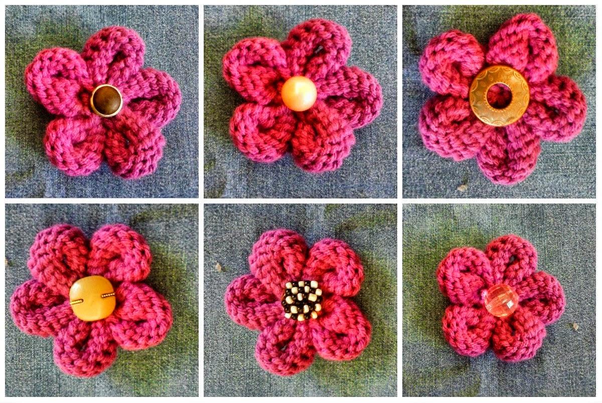 Flor tejida con punto jersey a dos agujas - paso a paso en fotos