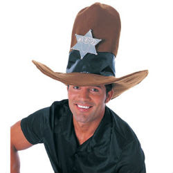 Man in giant foam cowboy hat
