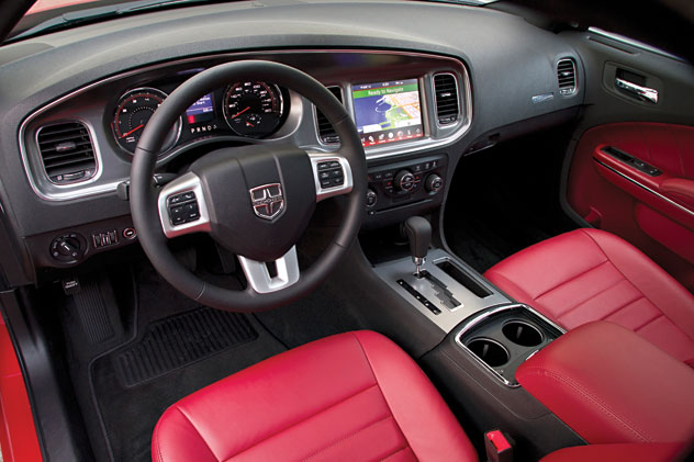 Two-tone (red and black interior) of the 2011 Dodge Charger