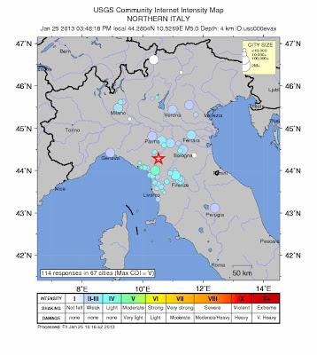 Epicentro sismo 5,0 grados en Italia, el 25 de Enero de 2013