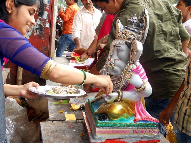 Pooja during Ganesh Sthapna, Ganesh Chaturthi Festival, Mumbai