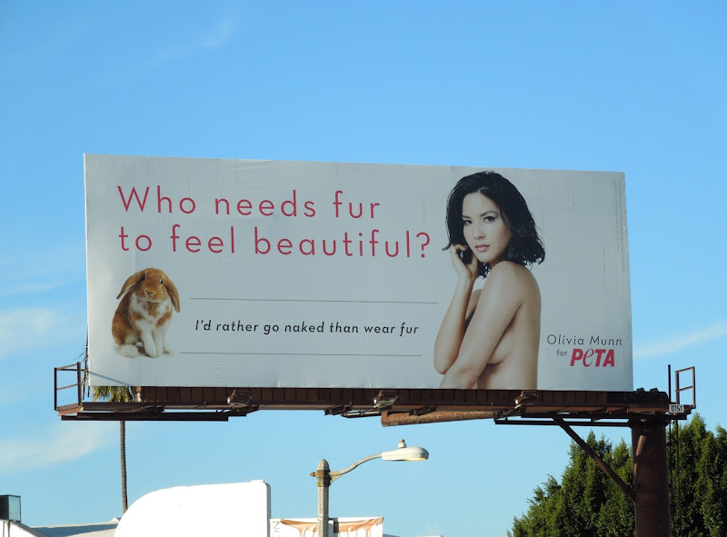 Olivia Munn PETA rabbit fur billboard
