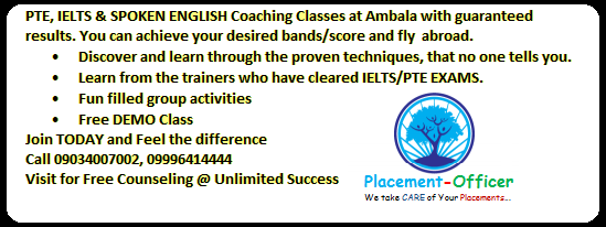 PTE, IELTS & SPOKEN ENGLISH Coaching @ Ambala