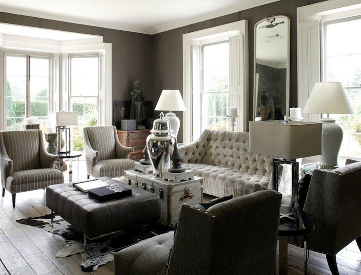 Luxe living space in taupe white and grey t a n y e s h a for Grey couch living room