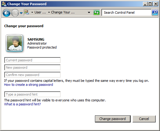 Mengubah Password Windows 7 Anda