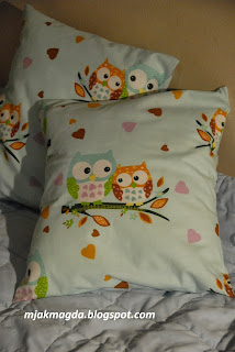 poszewka, poduszka, dla dziecka, dziecięca, sowy, sówki, słodka, pastelowa, mieta, miętowa, dziecko, serce, serduszko, serduszka, pillowcase, pillow for baby, children, owls, Sówka, sweet, pastel, mint, mint, child, heart, heart, hearts