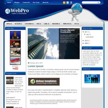 WebPro blogger template. template blogspot magazine style. download white background blogger template