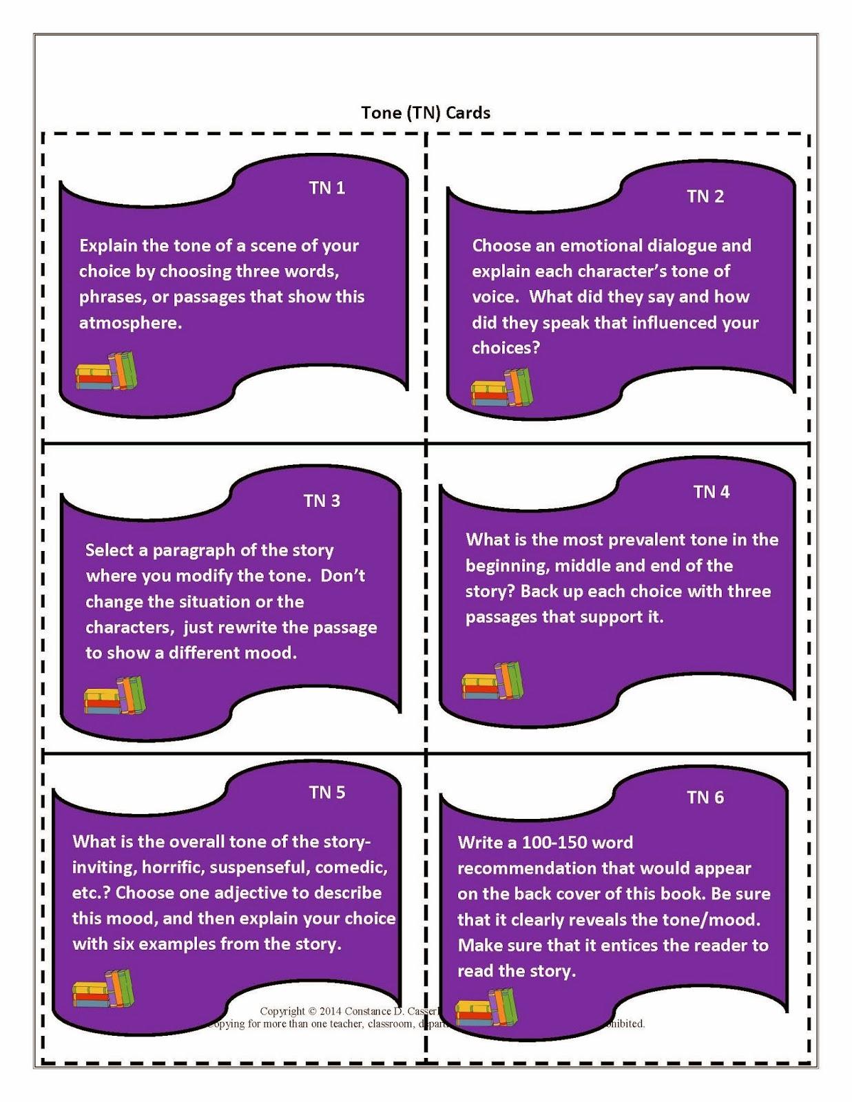 Literature Task Cards-Tone