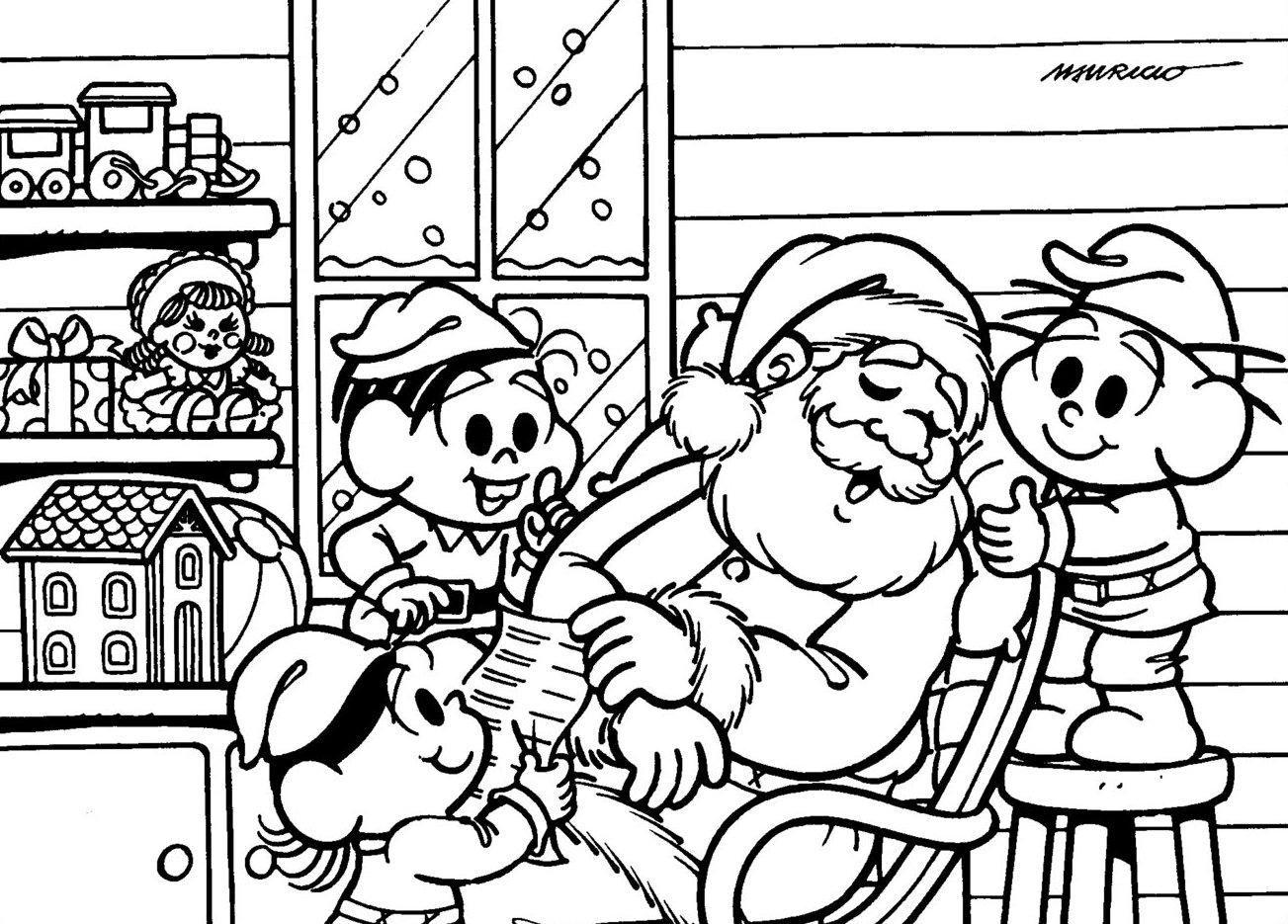 Desenho como desenhar festa de natal da turma da monica pintar e colorir