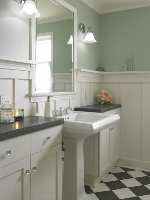 white wainscoting bathroom vanity Twine: How to update a 70's Bathroom