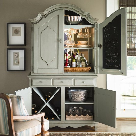 turn armoire into wine cabinet 3