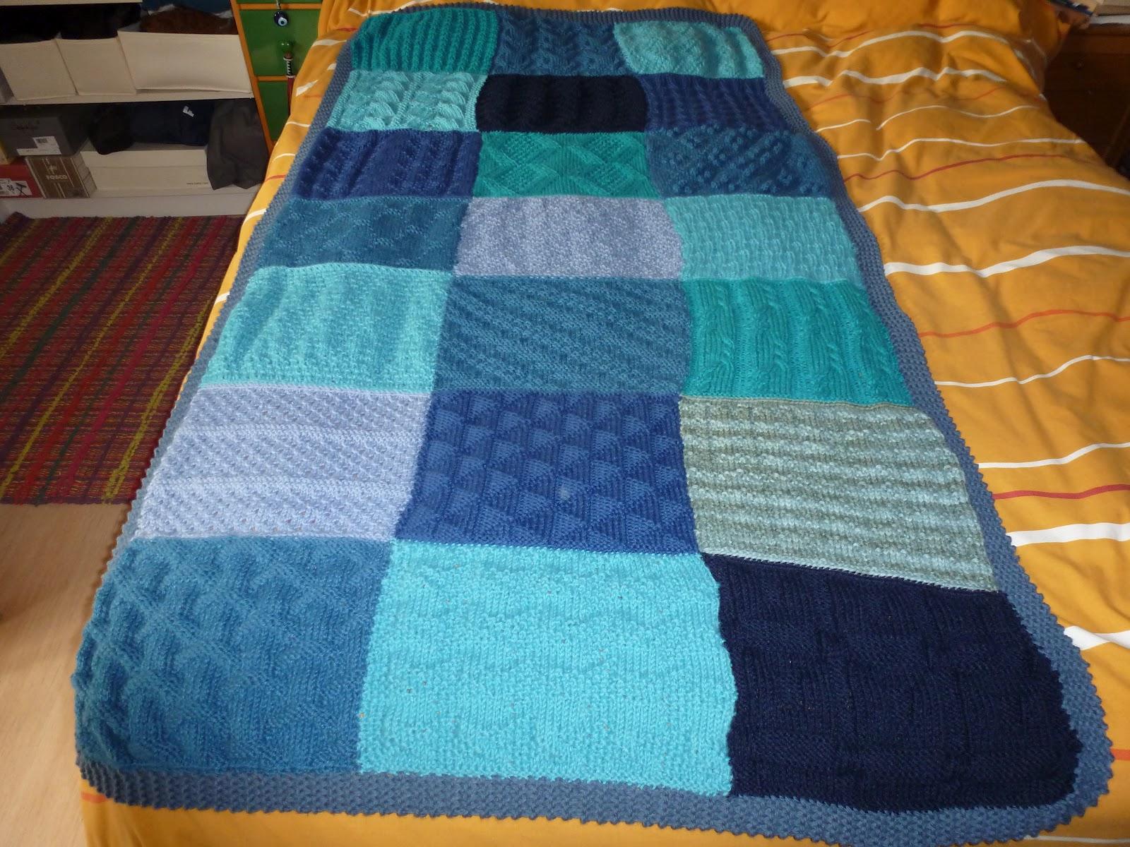 Tejealmu manta azul de punto - Tejer mantas de lana ...