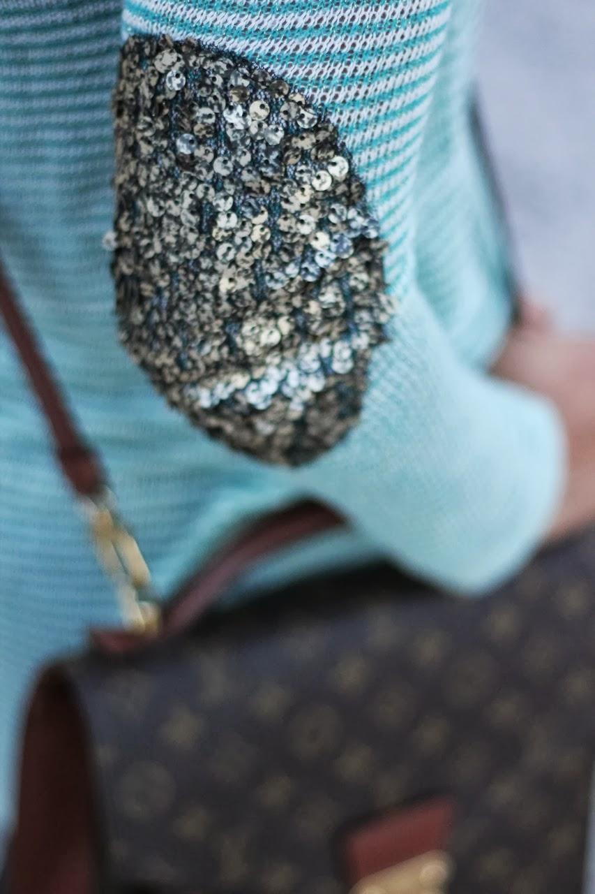 sequin stripe elbow patch ray ban rebecca minkoff louis vuitton vintage monceau bag mint