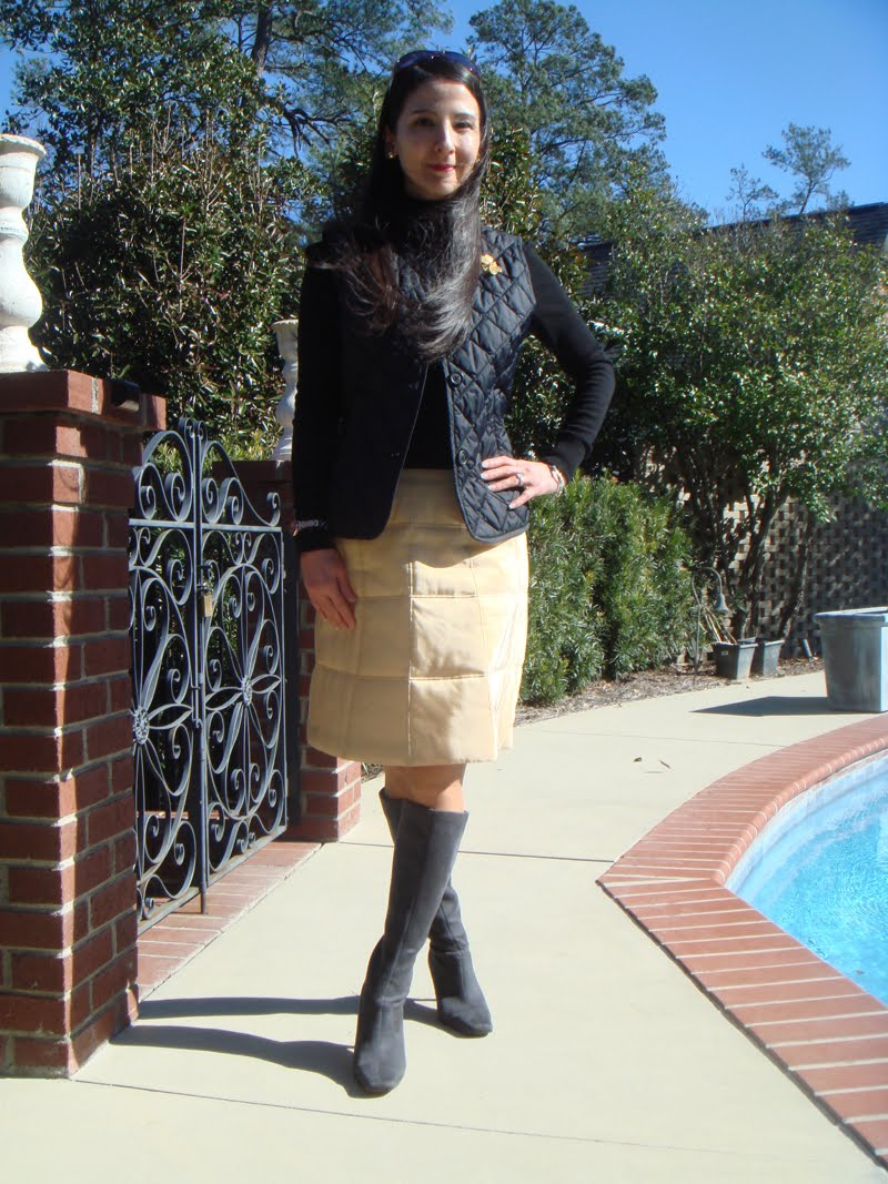 Quilted vest and quilted skirt outfit with head facing front.