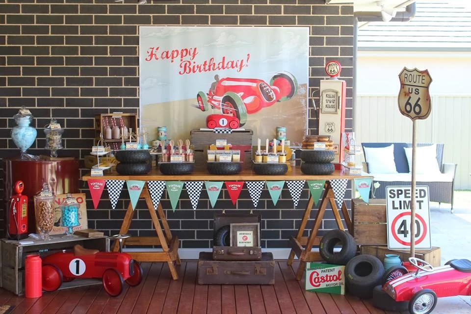 Vintage Car themed Dessert Table by Rainbow & Lollipops