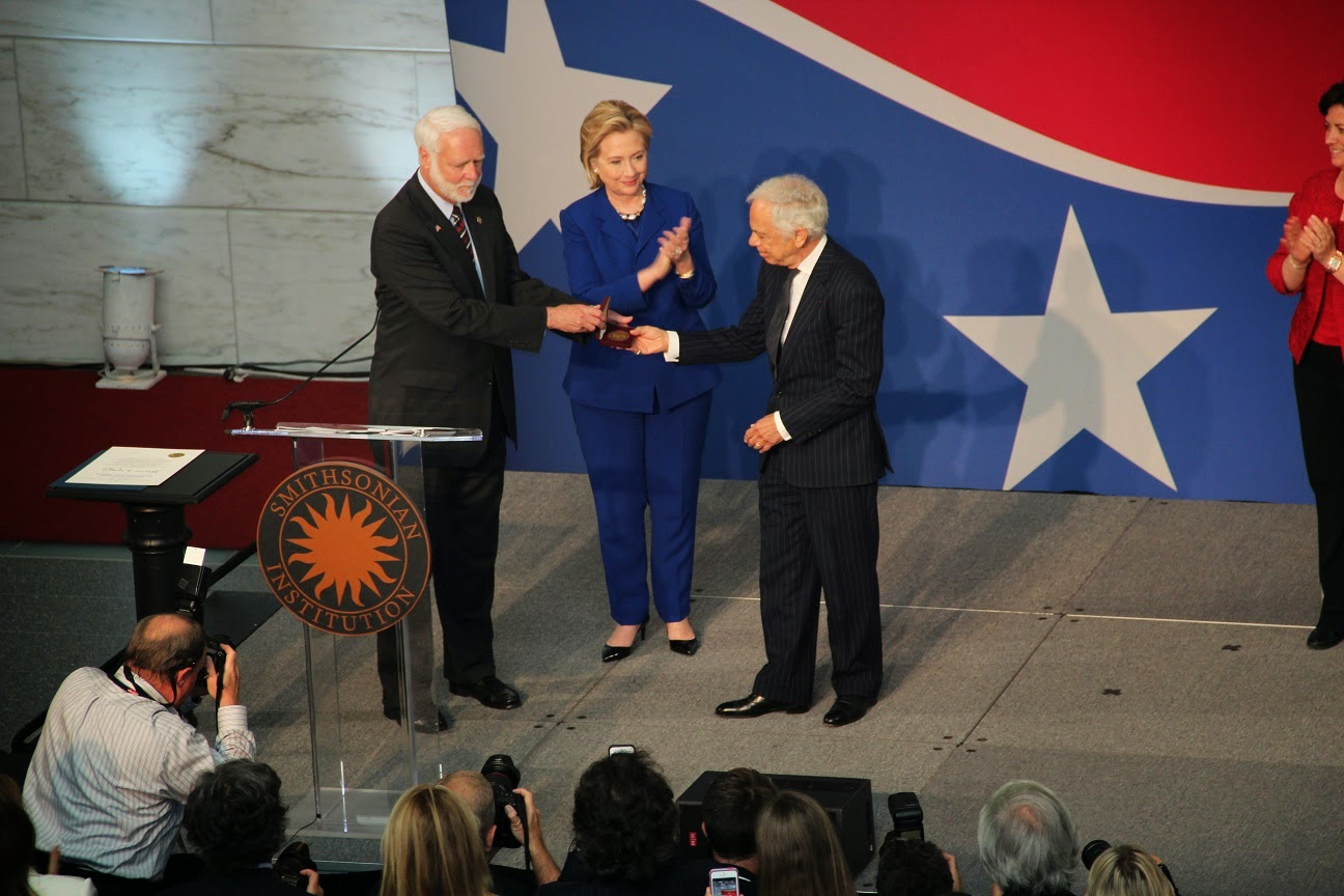 Hillary Clinton and Dr. G. Wayne Clough, Secretary of the Smithsonian Institution, present the James Smithson Bicentennial Medal to Ralph Lauren