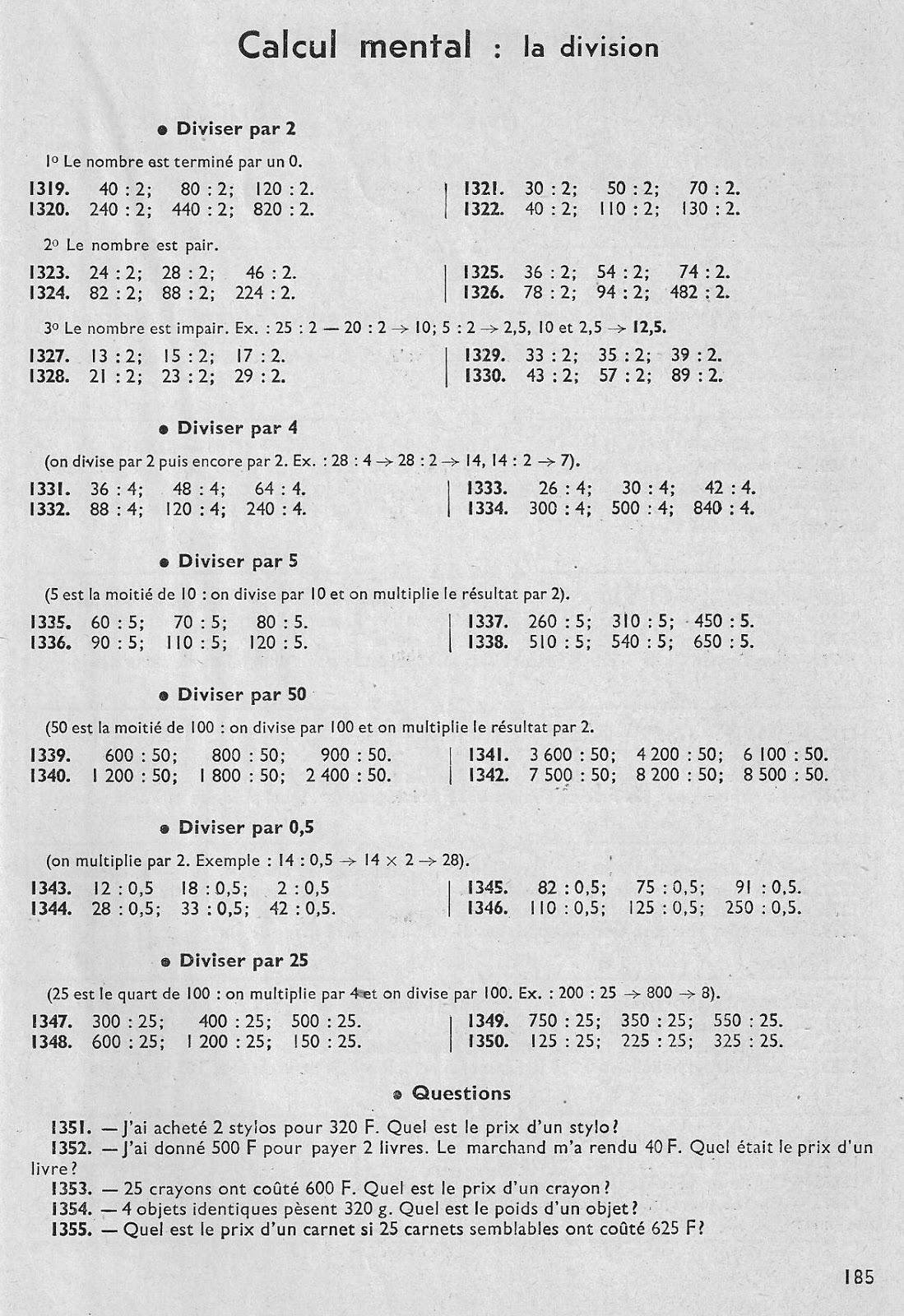 école : références: Calcul vivant CM1 Juillet pages 178 à 190