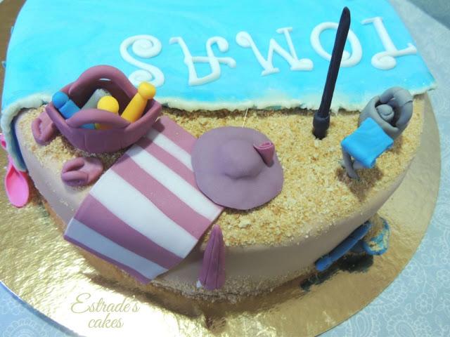 tarta playa con fondant - 6