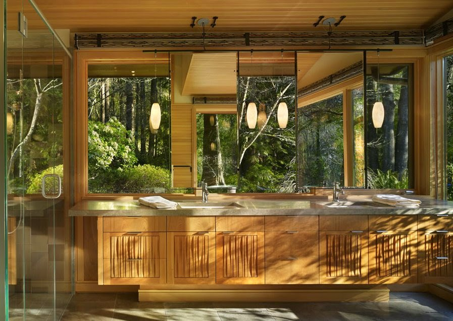 wooden modern house architecture design with beautiful bathtub