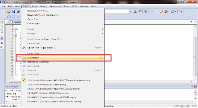 Building Target or Compiling code in KEIL uVISION 4