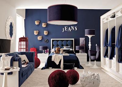 diseño habitación azul