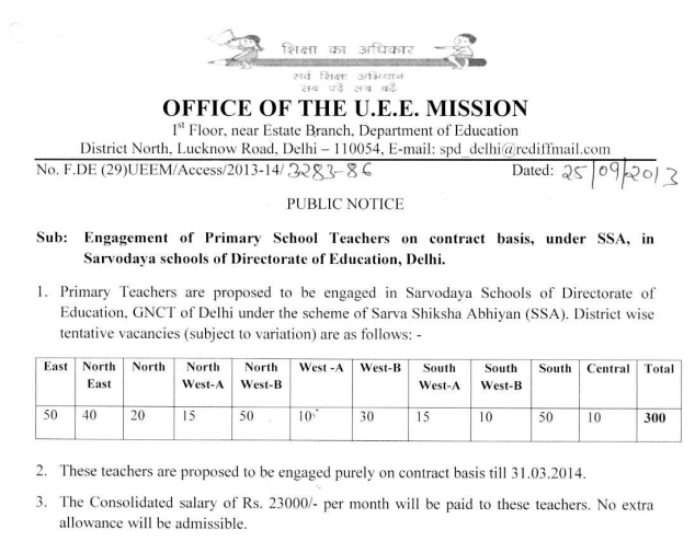 SSA Delhi Primary Teacher Jobs 2013