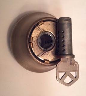 inside parts of a deadbolt key lock