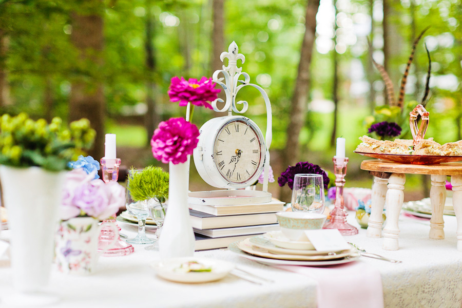Alice in wonderland tea party wedding inspiration tablescape with