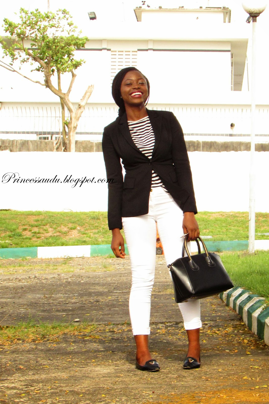 black blazer, stripes top, stripes, blue court heels, black blazer, black bag, wardrobe basic essentials