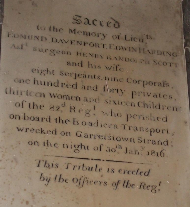 The Boadicea Memorial, St. Multose's Church, Kinsale