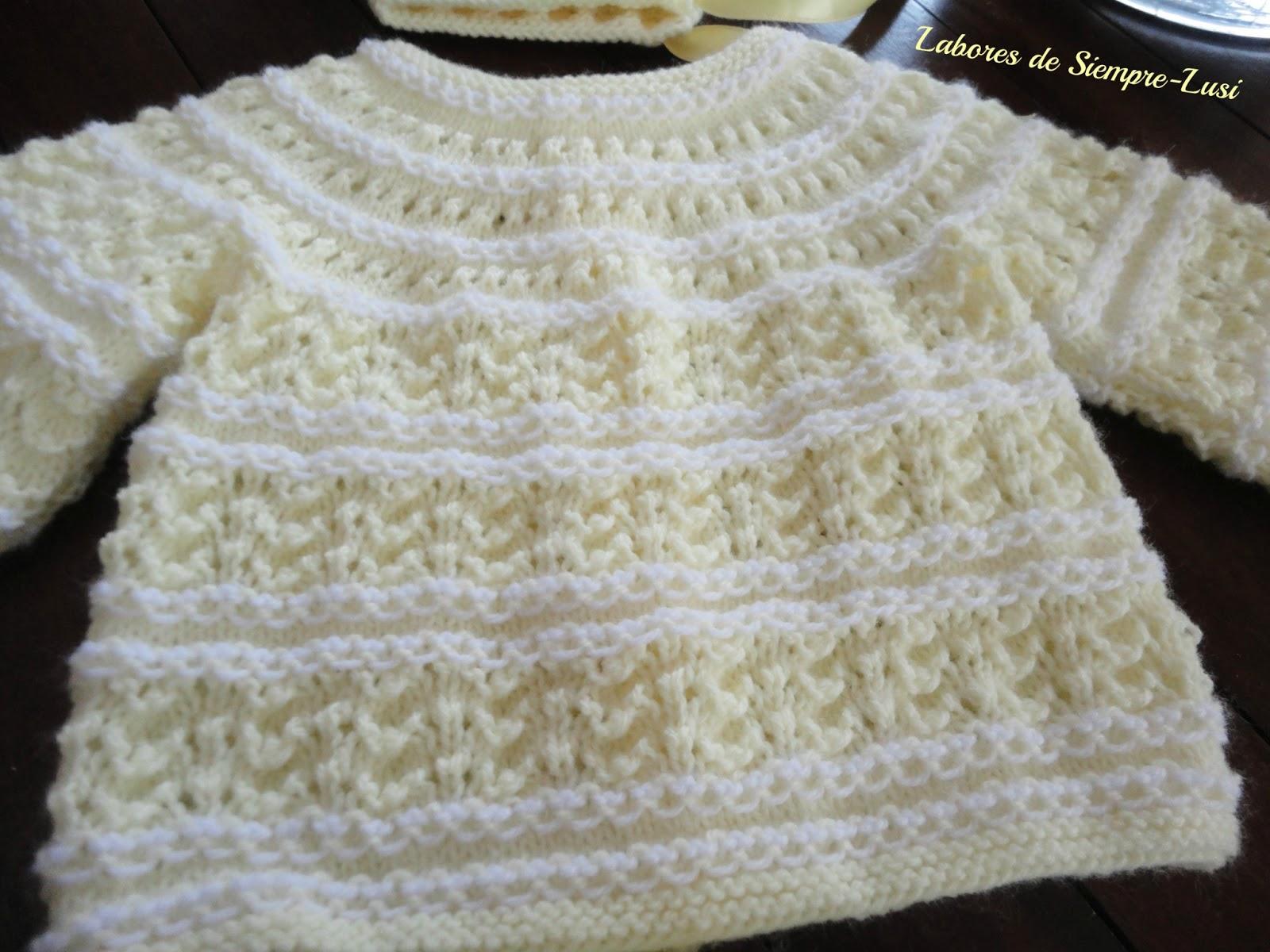 Labores de siempre conjunto beb en punto de conchas - Labores de punto de lana ...