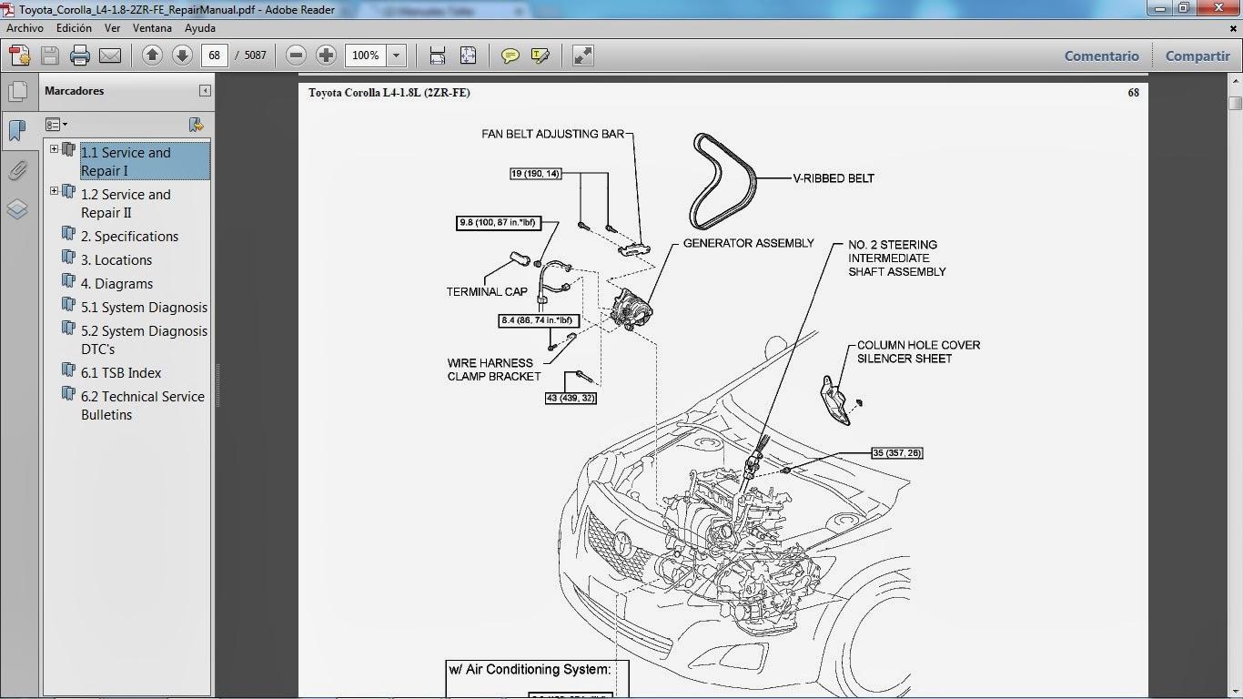 TOYOTA COROLLA motor 2ZR-FE gasolina L4 1.8