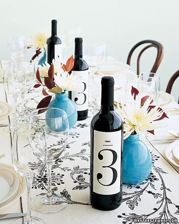 Wine Bottles as Wedding Table Numbers Have wine bottles do doubleduty as