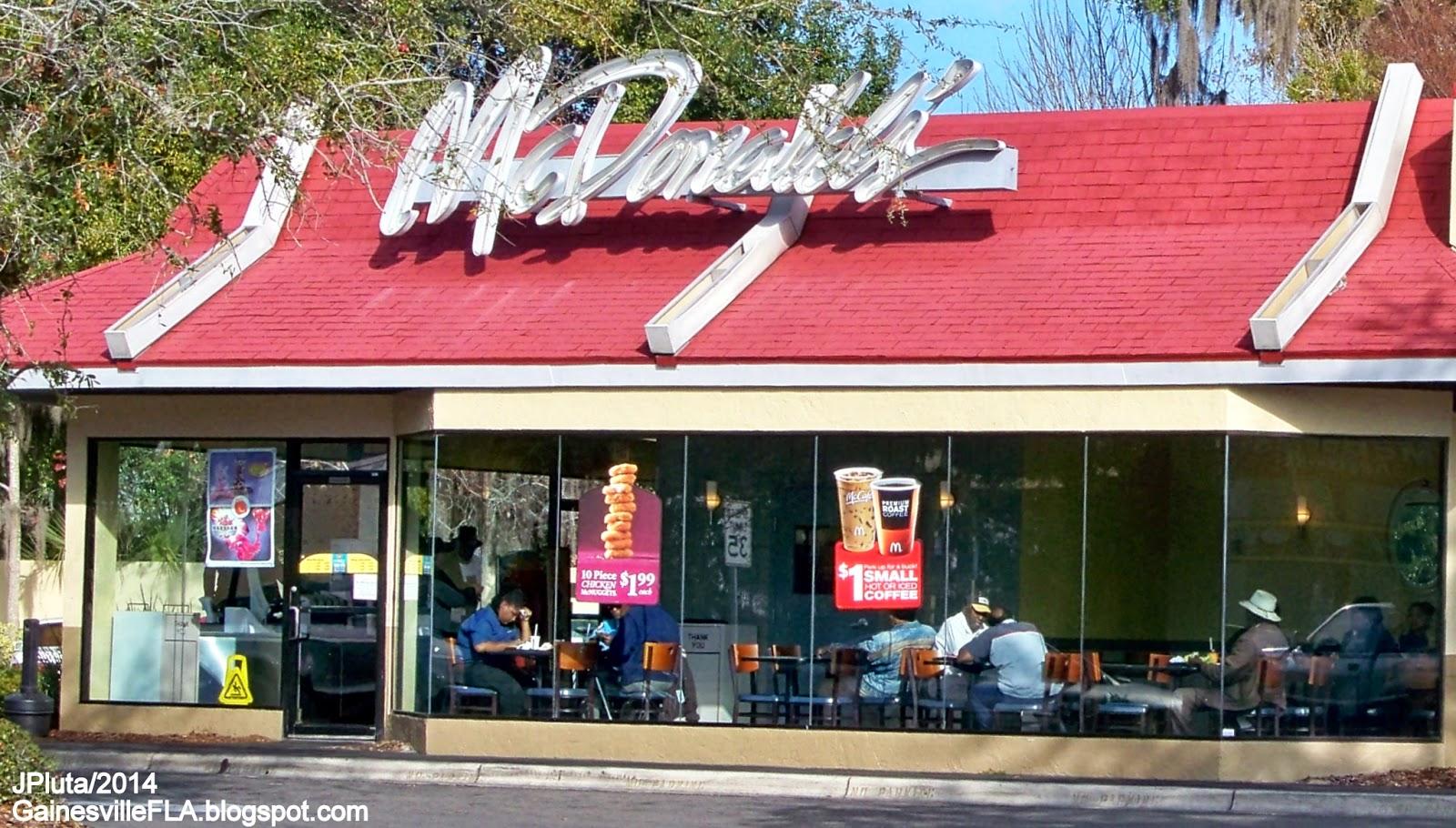 Mcdonald S Gainesville Florida Nw 13th Street Side Entrance Fast Food Hamburger Restaurant Alachua County Fl