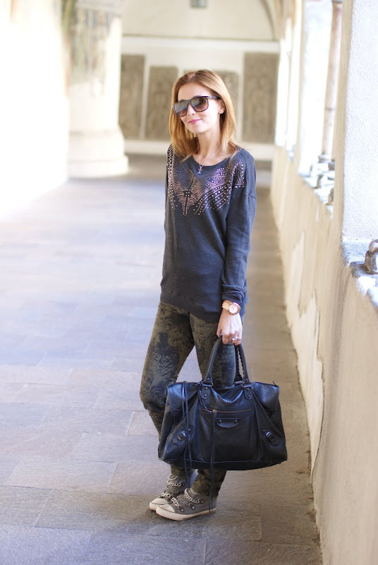 Zara studded sweater, camo feather pants, Balenciaga work bag