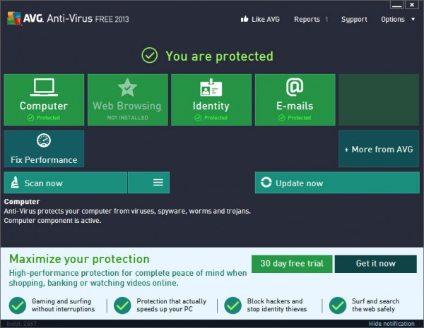 AVG Antivirus Free 2013 - Metro Interface