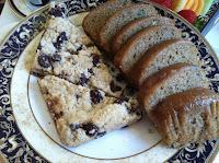 VeegMama's vegan dessert plate of chocolate chip scones and zucchini bread