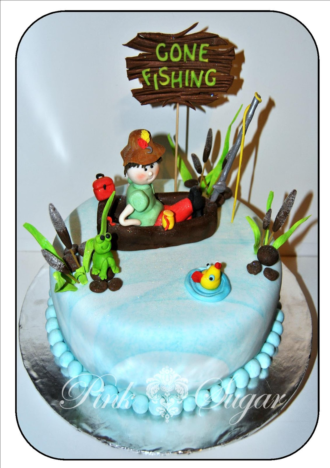 Pink sugar gone fishing cake for Fishing themed cakes