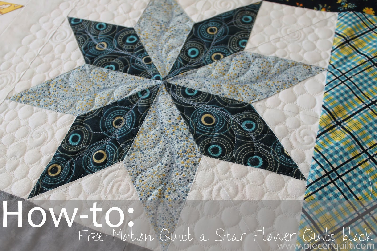 Free Star Flower Quilt Patterns : Piece N Quilt: How-to: Free-Motion Quilt a Star Flower Quilt Block
