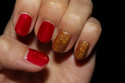 Hollywood girl RED nail Polish with Gold Glitters