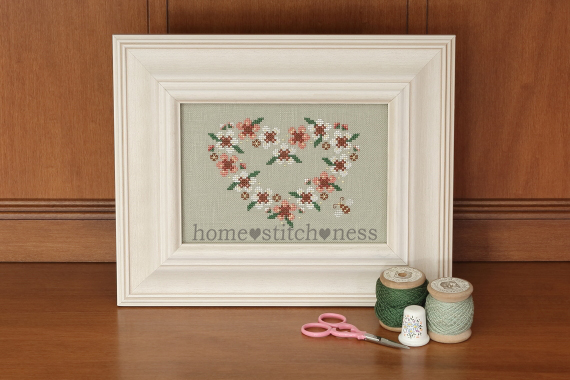 Love Blossoms Heart Wreath Cross Stitch Tea Tree Manuka Flowers Honey Bee Australia New Zealand