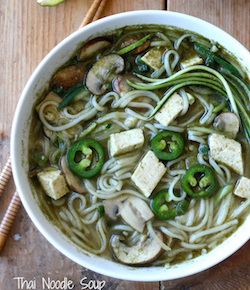 Thai noodle soup with tofu, zucchini and mushroom recipe