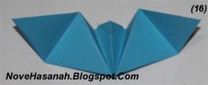 langkah-langkah melipat kertas origami untuk membuat bentuk binatang kelelawar yang unik, cocok untuk anak SD kelas 4, 5, dan 6, serta untuk pemula x