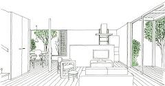 2つの庭のある小住宅(計画案)