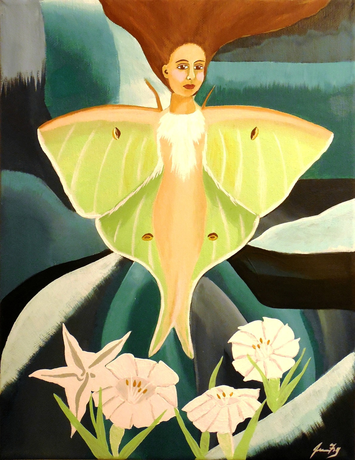 Conscious art studios luna moth her gift and symbolism i have created a new painting an original pop surrealism painting titled lunas moonlit garden she is listed in my etsy shop buycottarizona